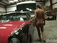This tall babe loves classic cars and she is a total exhibitionist