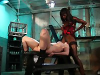 Ebony bitch acts dominant with her submissive white slut