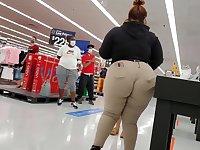 Bbw Walmart employee big booty wedgie see thru