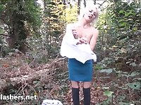 Blonde Aprils outdoor flashing and masturbation in public