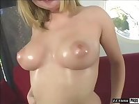 All horny light haired nympho goes solo and enjoys amateur nude show