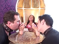 Glamour Girls enjoy foot licking - femdom porn