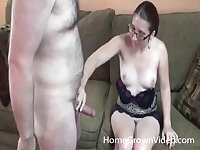 Wife Janice with glasses enjoys pleasing him with her mouth