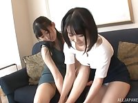 Japanese lesbian porn with two adorable friends in a hotel room