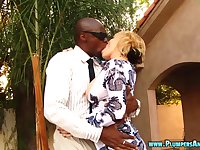 Interracial fucking on the bed between a BBC and blonde Kara Lee