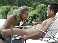 Veronica Leal is fucking the new gardener in the middle of the day, on the sun bed