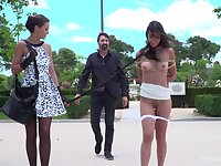 Public humiliation video with amateur Carolina Abril and Tina Kay