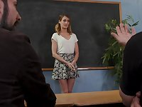 Troublesome coed Zoe Sparx gets fucked by her angry professors
