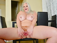 Big titted BBW milf Cameron Skye pleases her mature pussy