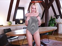 Bright and kinky auburn Marilyn Sugar is eager to tease herself a bit