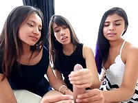 Three sweet teen sluts are sharing a rock hard meat stick and enjoying every second of it