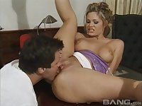 Horny husband persuades his wife Barett Moore for a MMF threesome