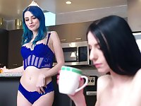 Blue haired pussy loving honey reveals more than just her ass