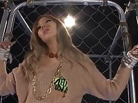 Amateur Japanese Karen Uehara tied up to a fence and pleasured