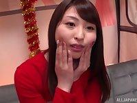 Amateur Japanese Akiyama Shouko flashes tits and gives a handjob