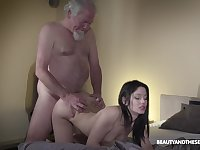 Old grey bearded gets woken up with sex and what a sexy mistress he's got