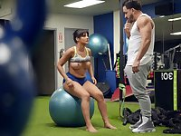 Fit woman tries a bit of sexual fun with her personal trainer