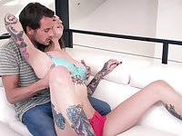 Erotic nude porn on the couch with a slim babe on fire