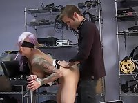 Blind folded blonde roughly fucked in a game of sexual domination