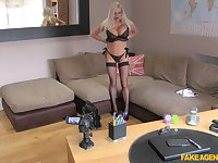 British slut Michelle Thorne fingered and fucked with a fat cock
