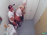 Nude blonde fucked by the doctor during her monthly check