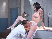 Creepy, but hot, Halloween hookup for Morgan Bailey and a pervy coroner