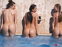 Amazing lesbian 3-way on the bed with sapphic slut Nancy A
