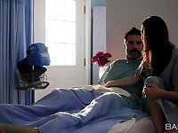 Babe Melissa Moore slips into lover's hospital bed for some action