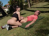 Energized wife takes on cock down in the park