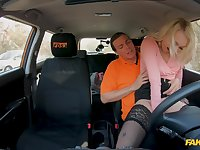 Energized blonde leaves the driving instructor to hump her good