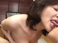 Mature Japanese pornstar Chizubu Terashima knows how to please a cock