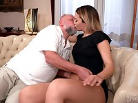 Old man facializes Bianca Booty after eating and fucking her pleasure hole
