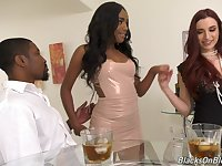 Interracial threesome with pornstars April Snow and Ashley Aleigh