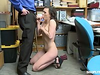 Pallid used hooker is brutally mouthfucked by cop in the police station