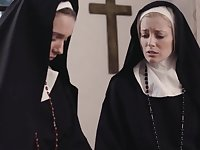 Dirty nuns Mona Wales and Serene Siren crave for wet pussy