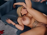 Blonde with massive boobs is taking a big cock up her twat