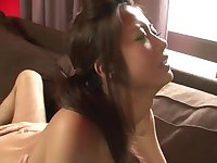 Naked and handcuffed Japanese girl is pleasing her master